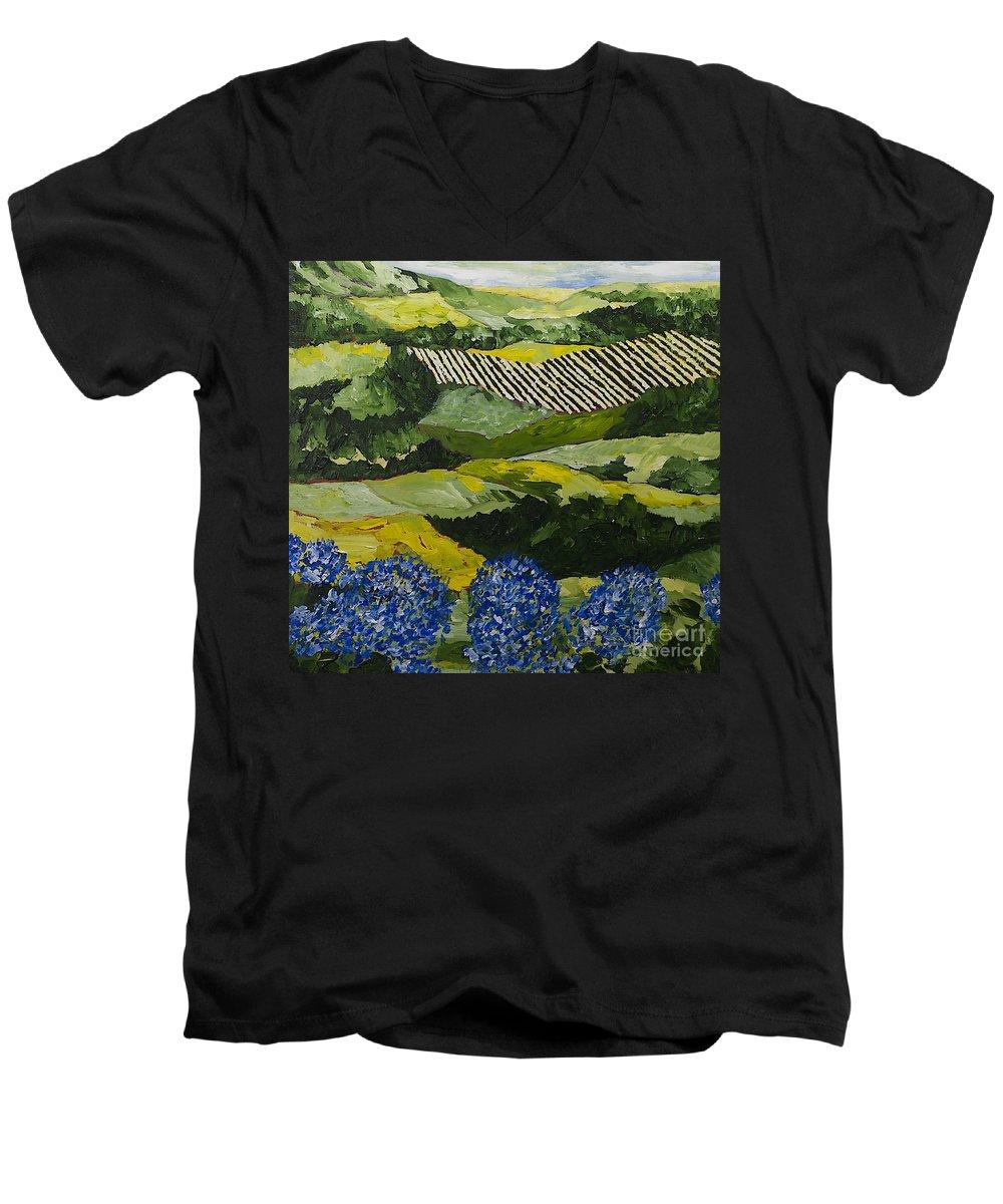 Landscape Men's V-Neck T-Shirt featuring the painting Hydrangea Valley by Allan P Friedlander