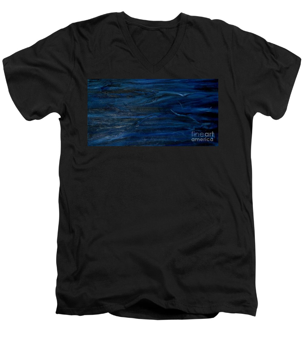 Modern Art Men's V-Neck T-Shirt featuring the painting Immense Blue by Silvana Abel