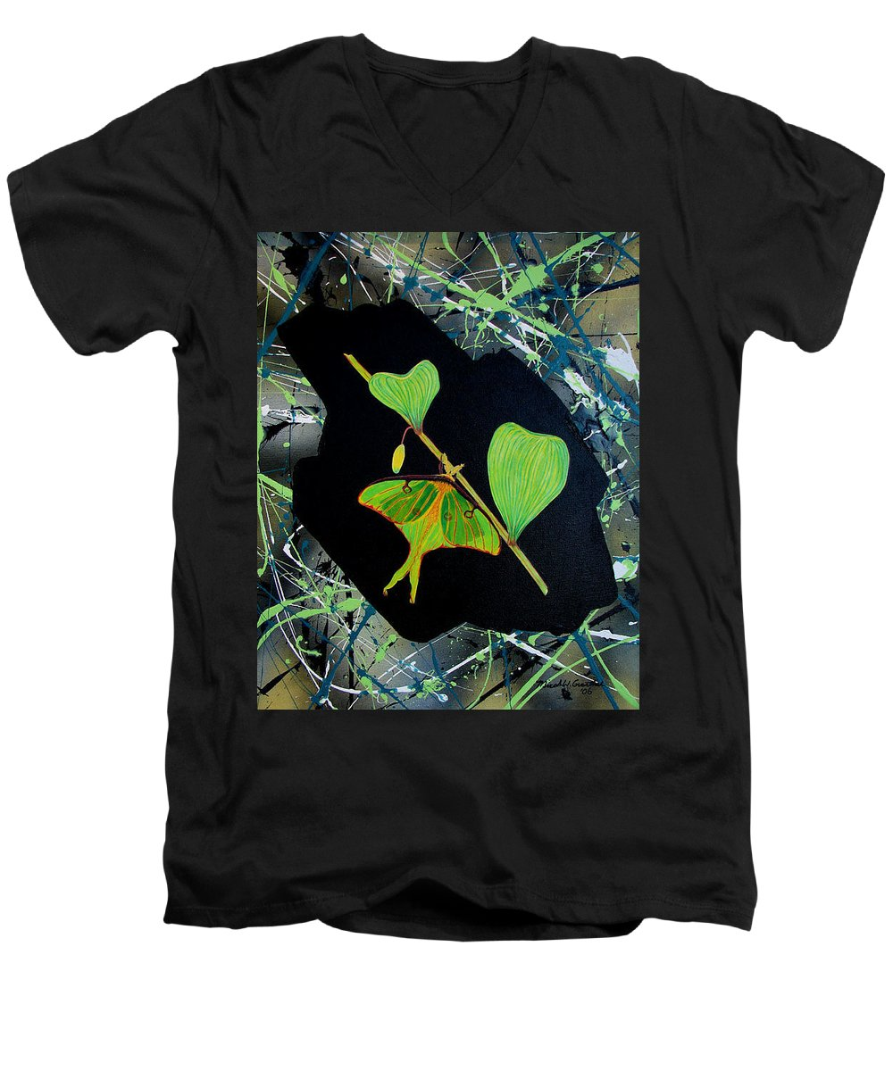 Abstract Men's V-Neck T-Shirt featuring the painting Imperfect IIi by Micah Guenther