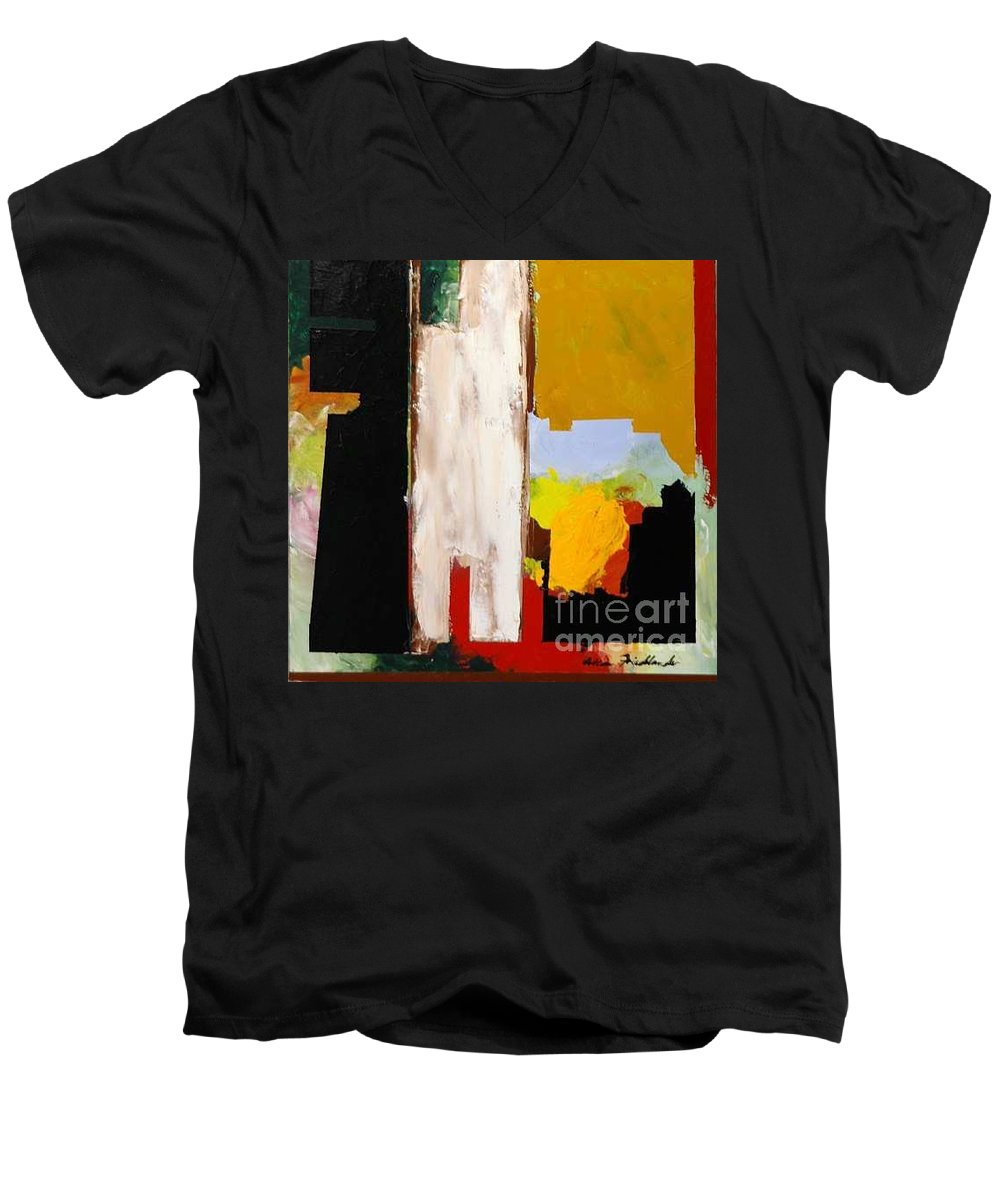 Landscape Men's V-Neck T-Shirt featuring the painting Jordan Park 511 by Allan P Friedlander