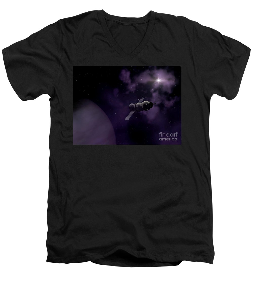 Space Men's V-Neck T-Shirt featuring the digital art Jupitor One Exploration by Richard Rizzo