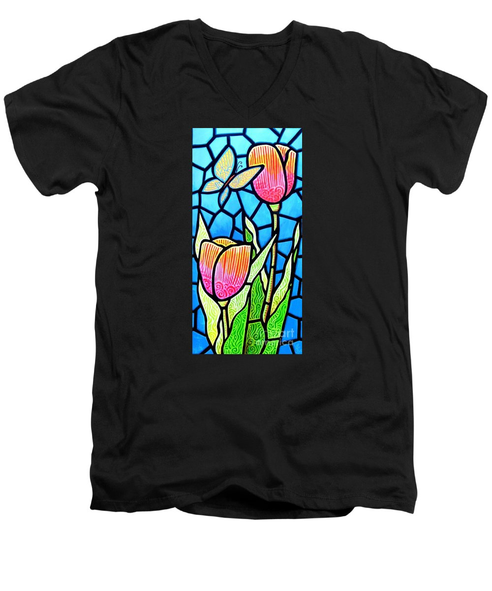 Butterflies Men's V-Neck T-Shirt featuring the painting Just Visiting by Jim Harris