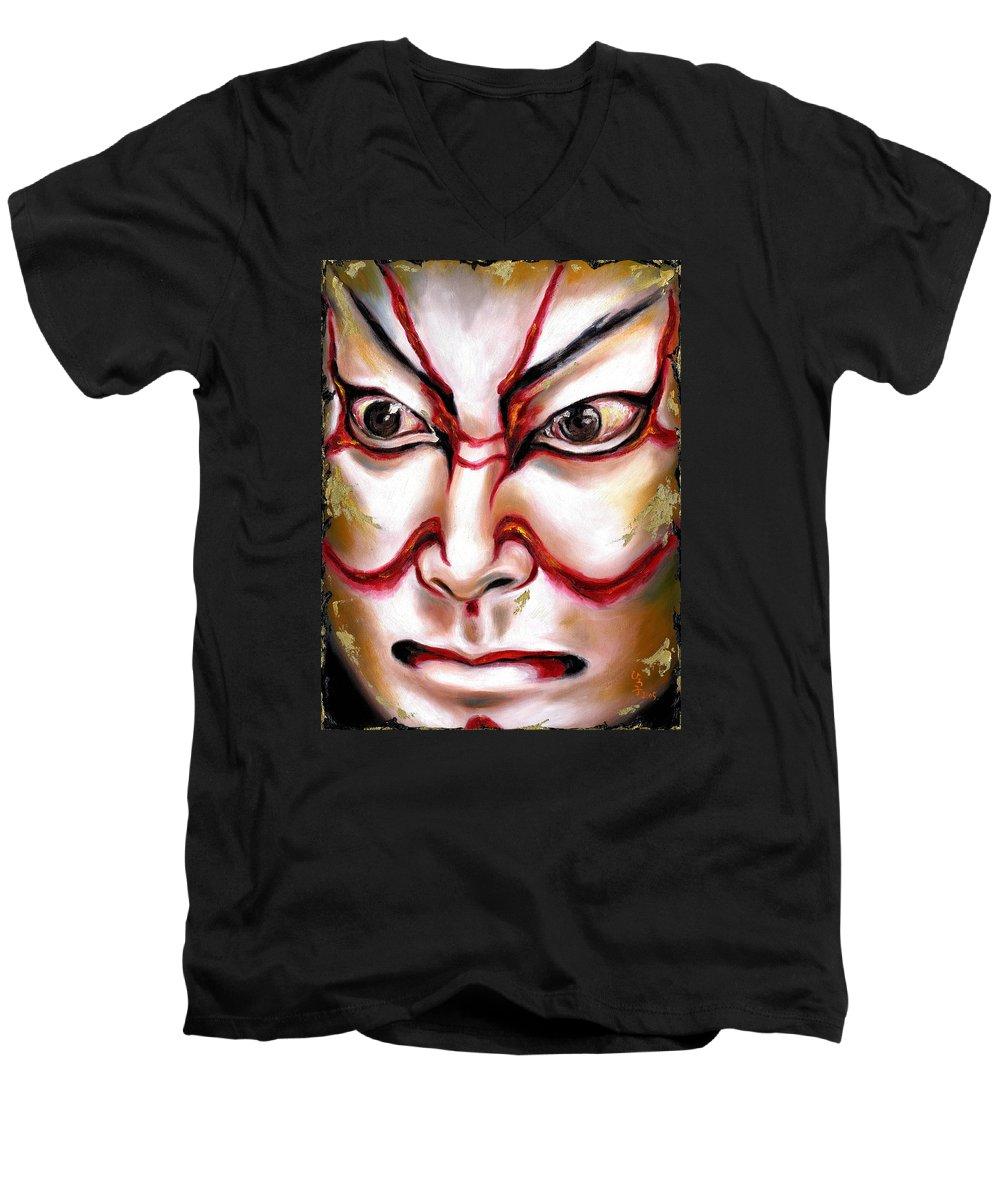 Kabuki Men's V-Neck T-Shirt featuring the painting Kabuki One by Hiroko Sakai