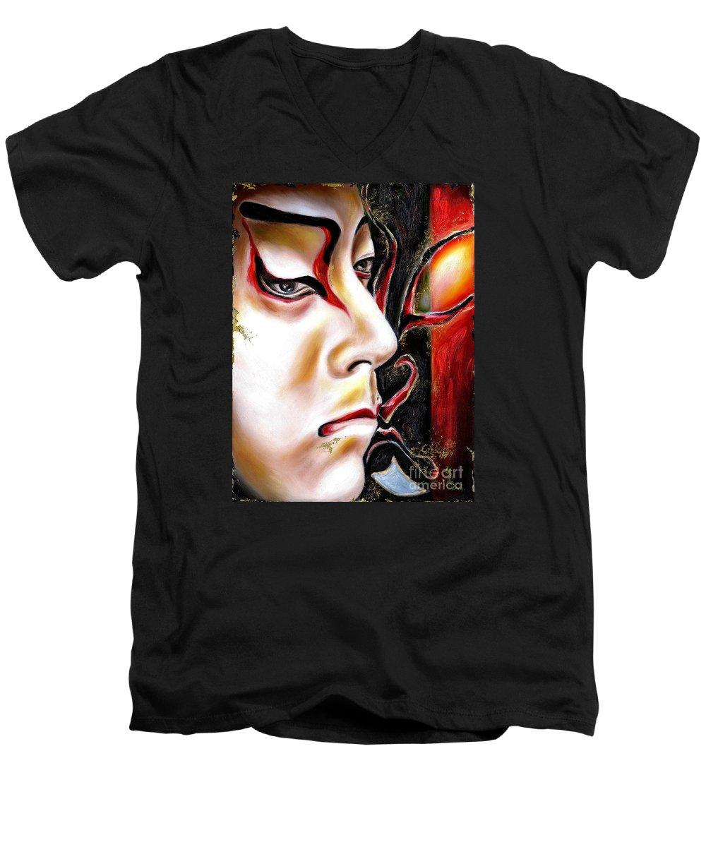 Kabuki Men's V-Neck T-Shirt featuring the painting Kabuki Three by Hiroko Sakai