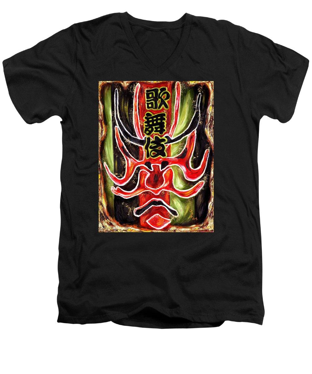 Kabuki Men's V-Neck T-Shirt featuring the painting Kabuki Two by Hiroko Sakai