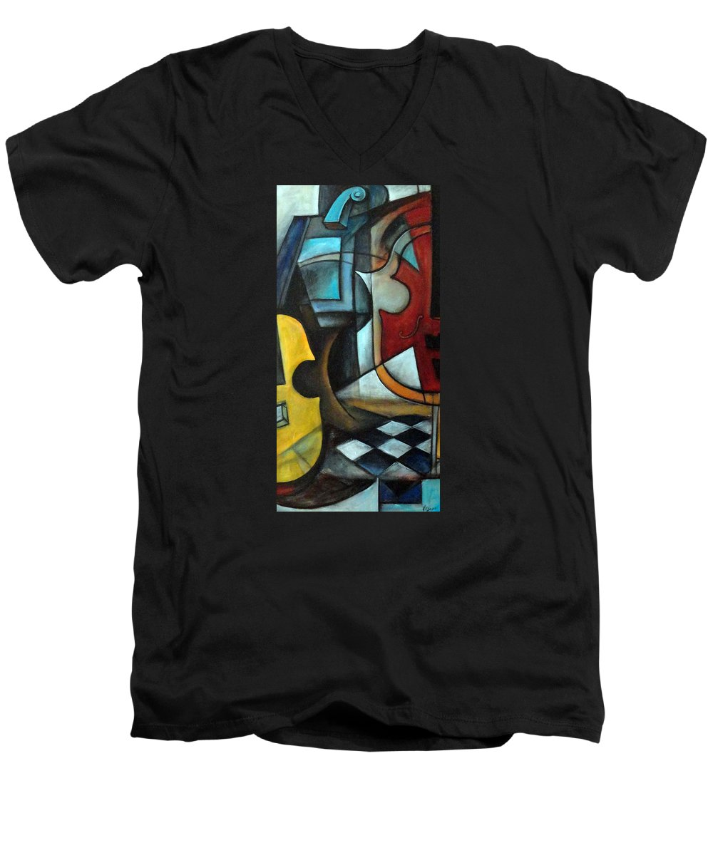 Abstract Men's V-Neck T-Shirt featuring the painting La Musique 1 by Valerie Vescovi