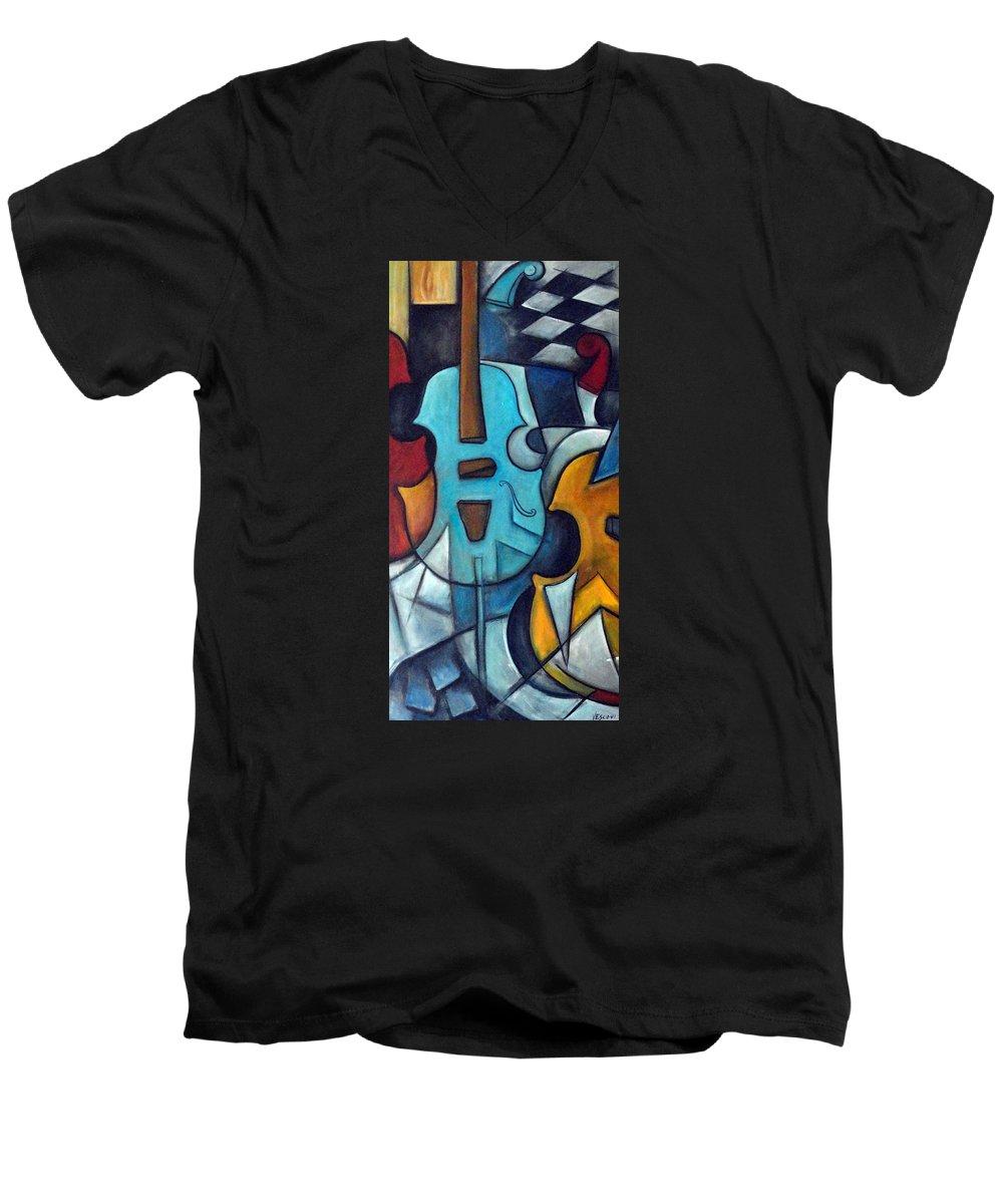 Music Men's V-Neck T-Shirt featuring the painting La Musique 2 by Valerie Vescovi