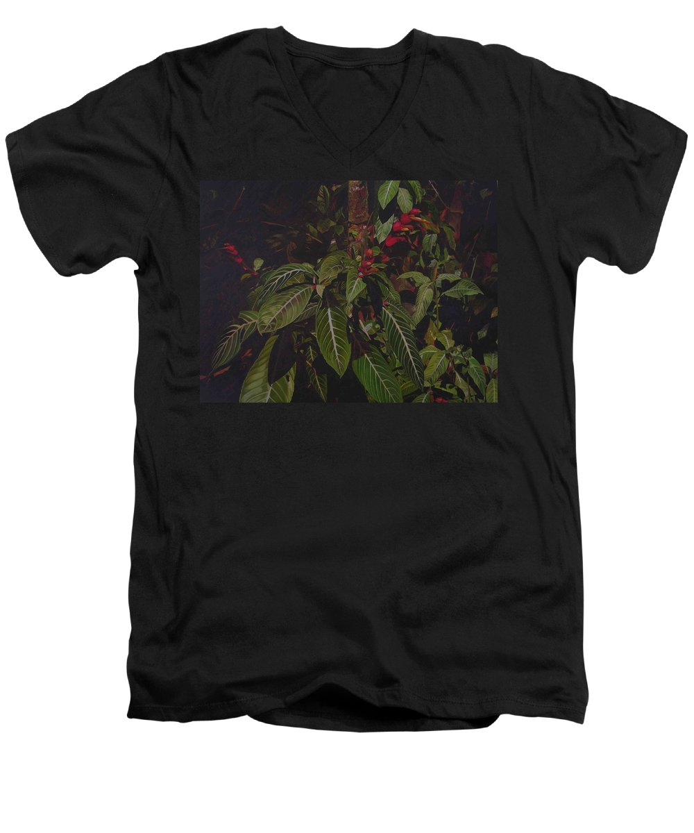 Leaves Men's V-Neck T-Shirt featuring the painting Leaving Monroe by Thu Nguyen