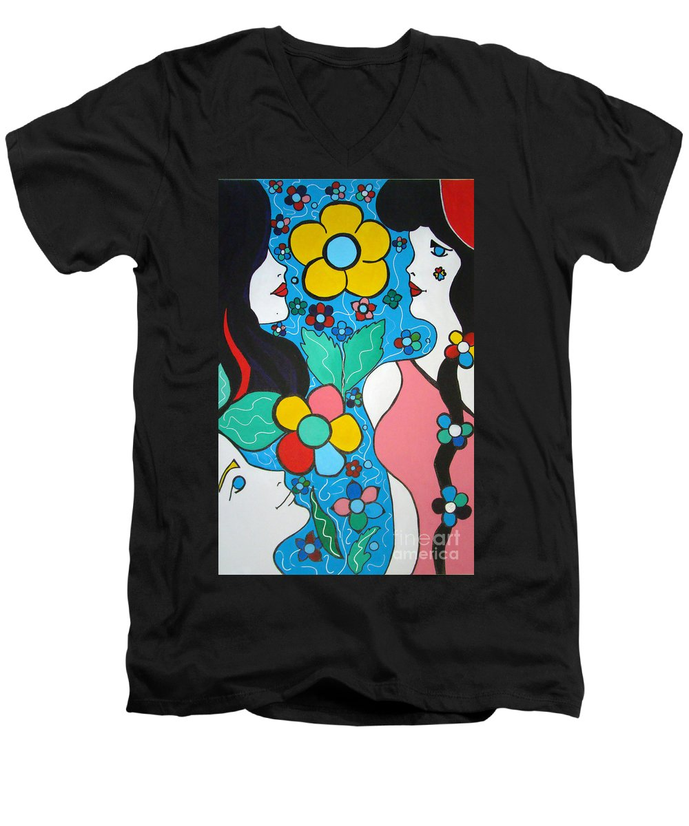 Pop Art Men's V-Neck T-Shirt featuring the painting Life Is Beautiful by Silvana Abel