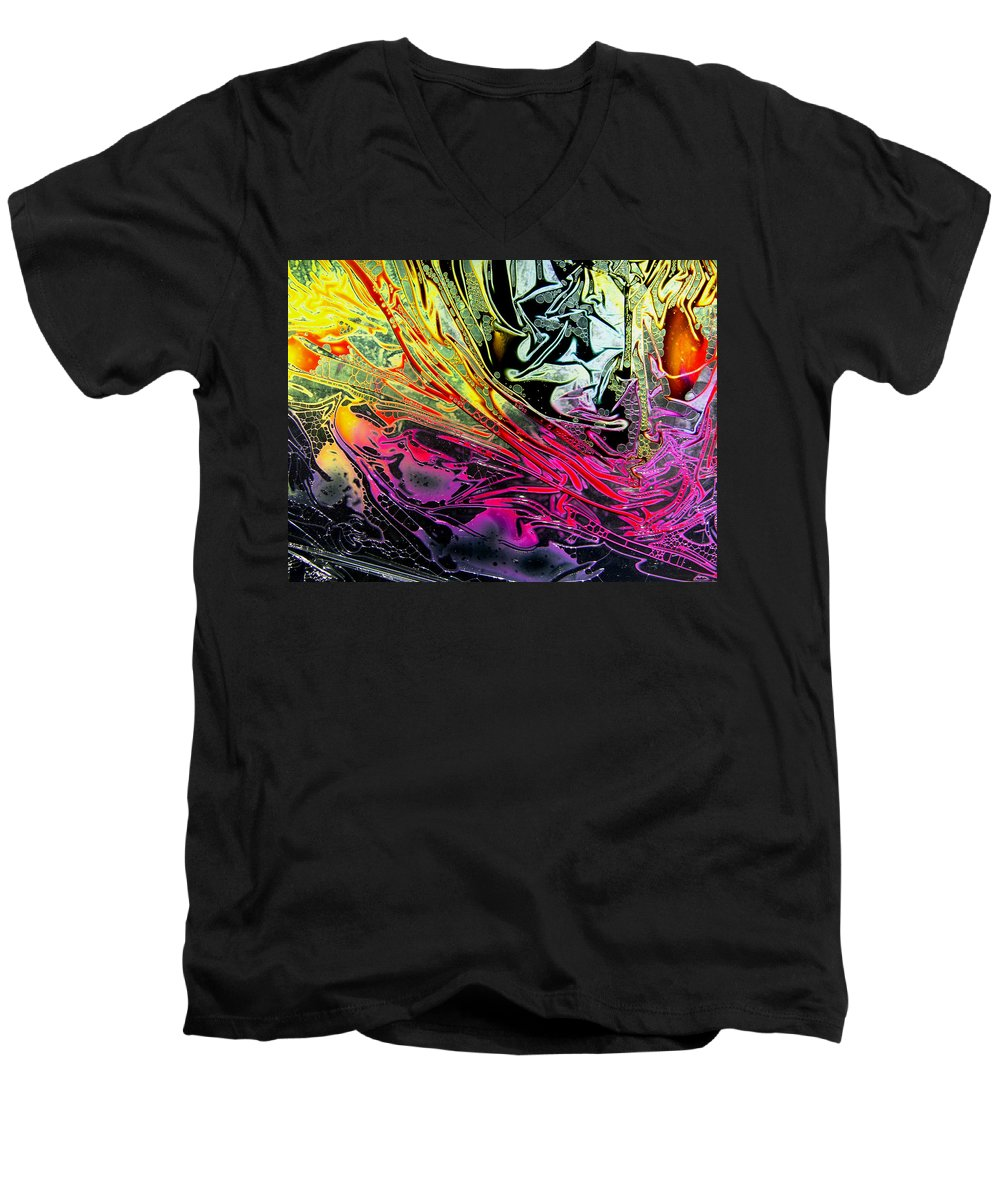 Surrealism Men's V-Neck T-Shirt featuring the digital art Liquid Decalcomaniac Desires 1 by Otto Rapp