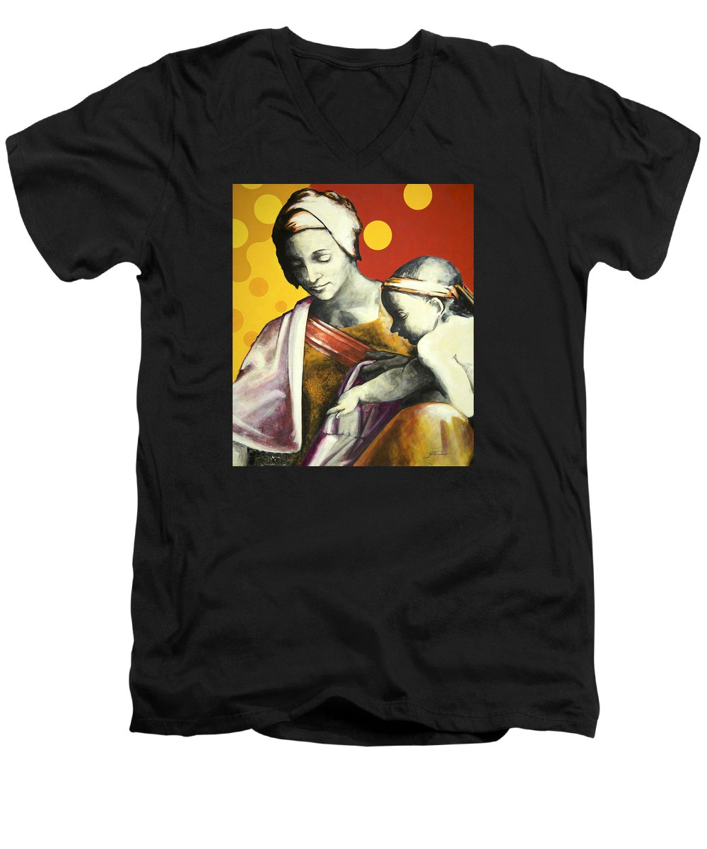 Figurative Men's V-Neck T-Shirt featuring the painting Madona by Jean Pierre Rousselet