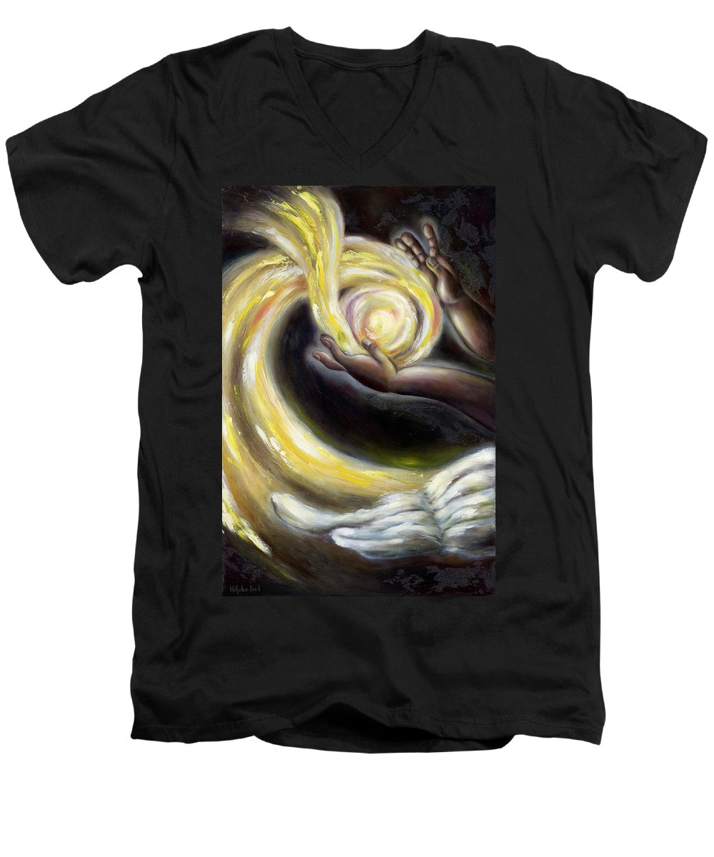 Angel Men's V-Neck T-Shirt featuring the painting Magic by Hiroko Sakai