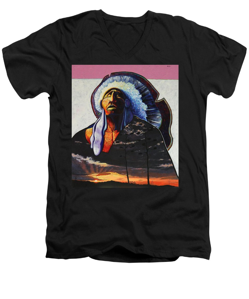 Native American Men's V-Neck T-Shirt featuring the painting Make Me Worthy by Joe Triano
