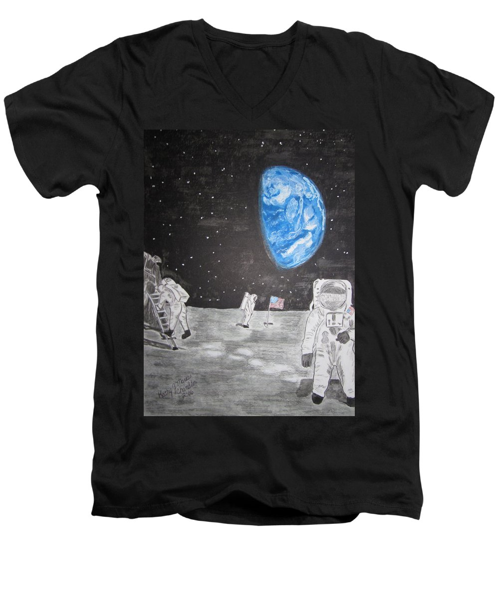 Stars Men's V-Neck T-Shirt featuring the painting Man On The Moon by Kathy Marrs Chandler