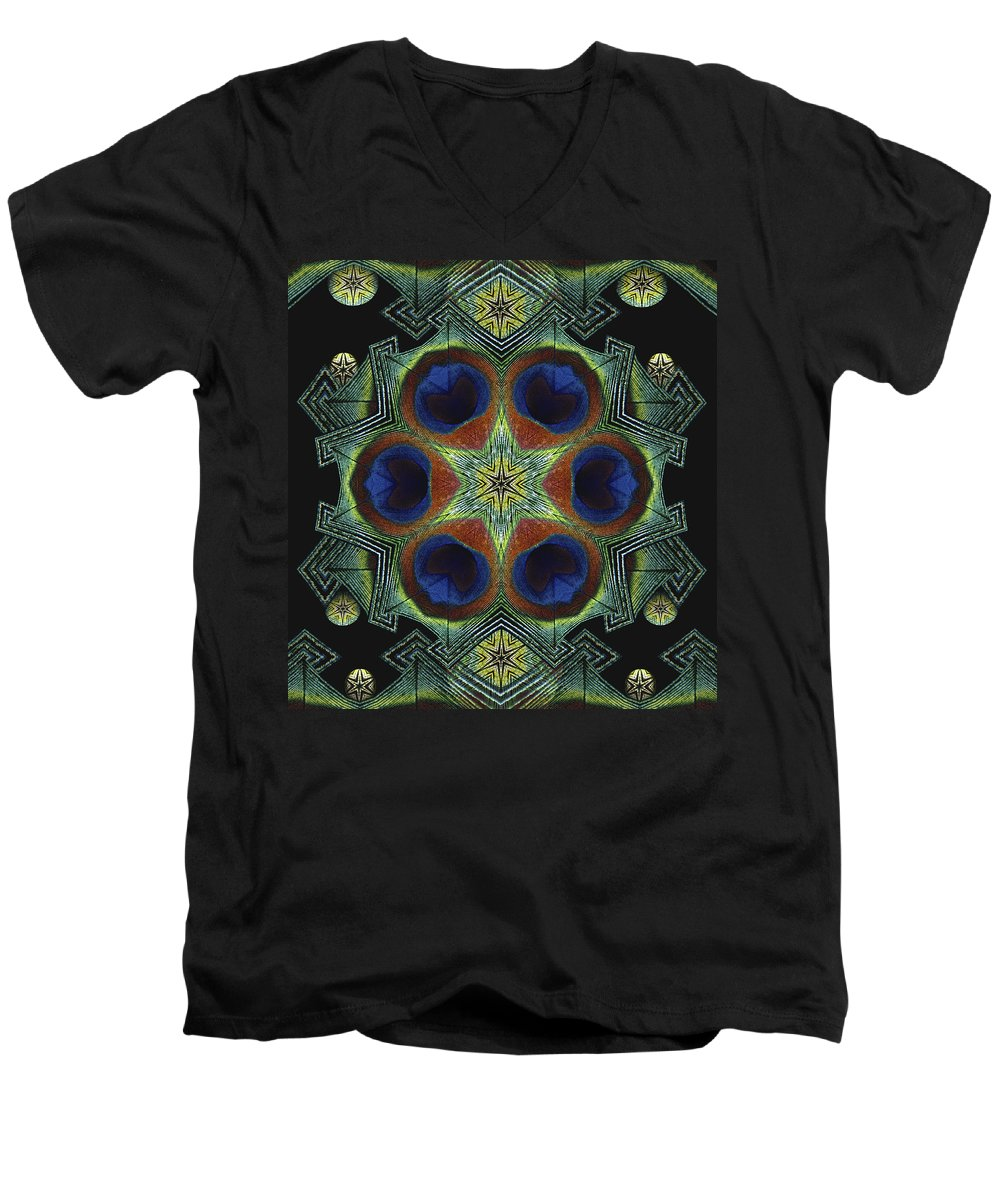 Mandala Men's V-Neck T-Shirt featuring the digital art Mandala Peacock by Nancy Griswold