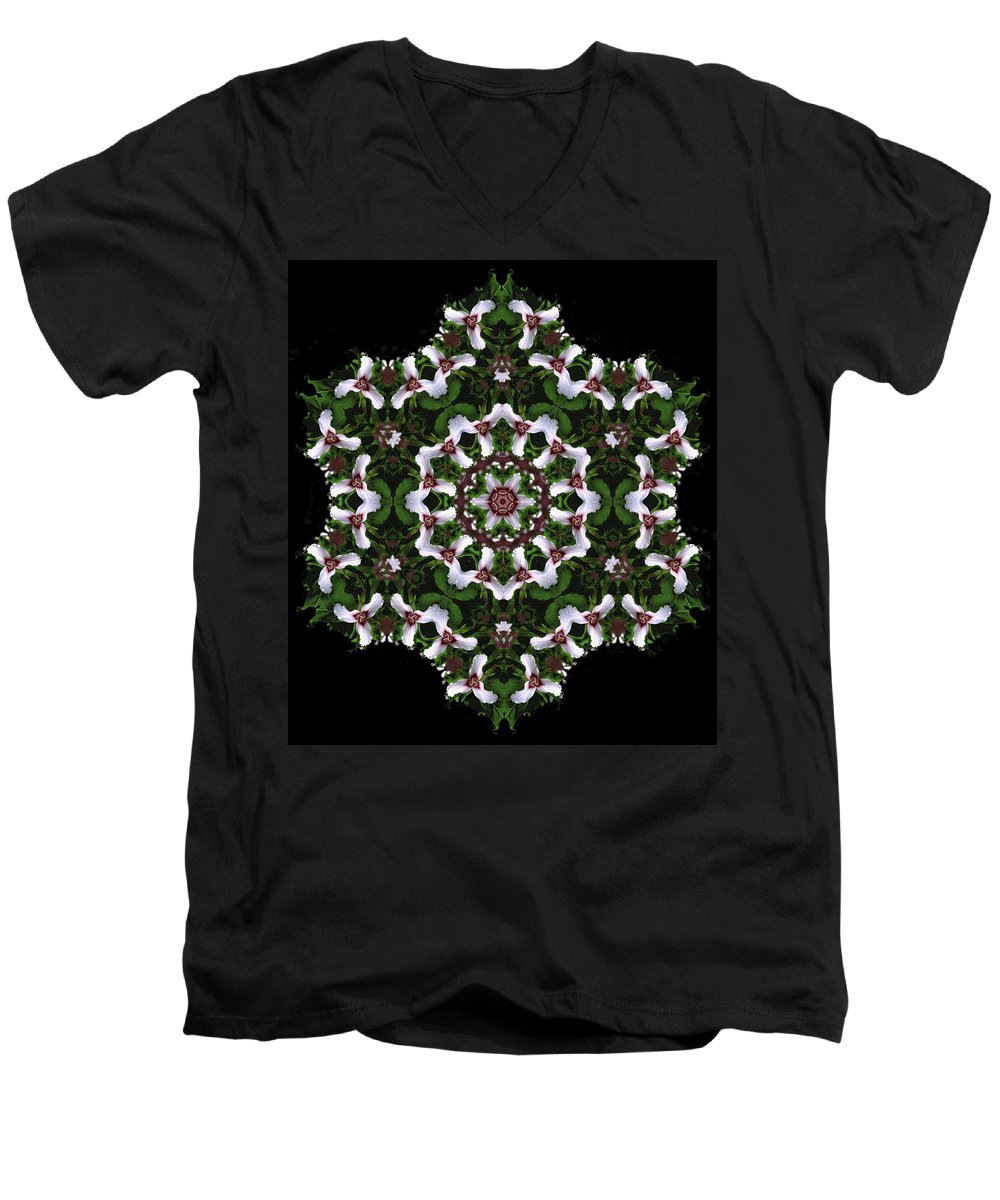 Mandala Men's V-Neck T-Shirt featuring the digital art Mandala Trillium Holiday by Nancy Griswold