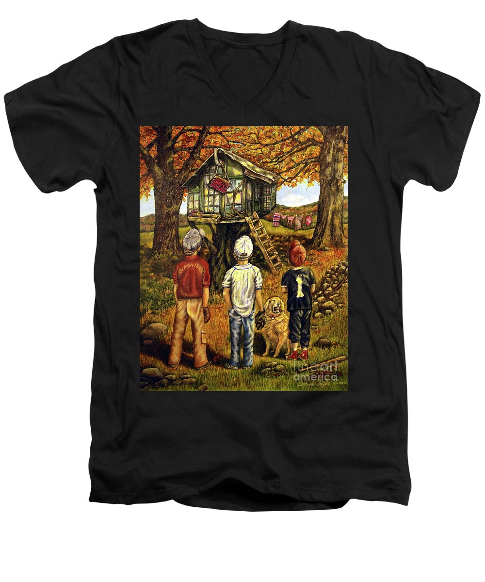 Trees Men's V-Neck T-Shirt featuring the painting Meadow Haven by Linda Simon