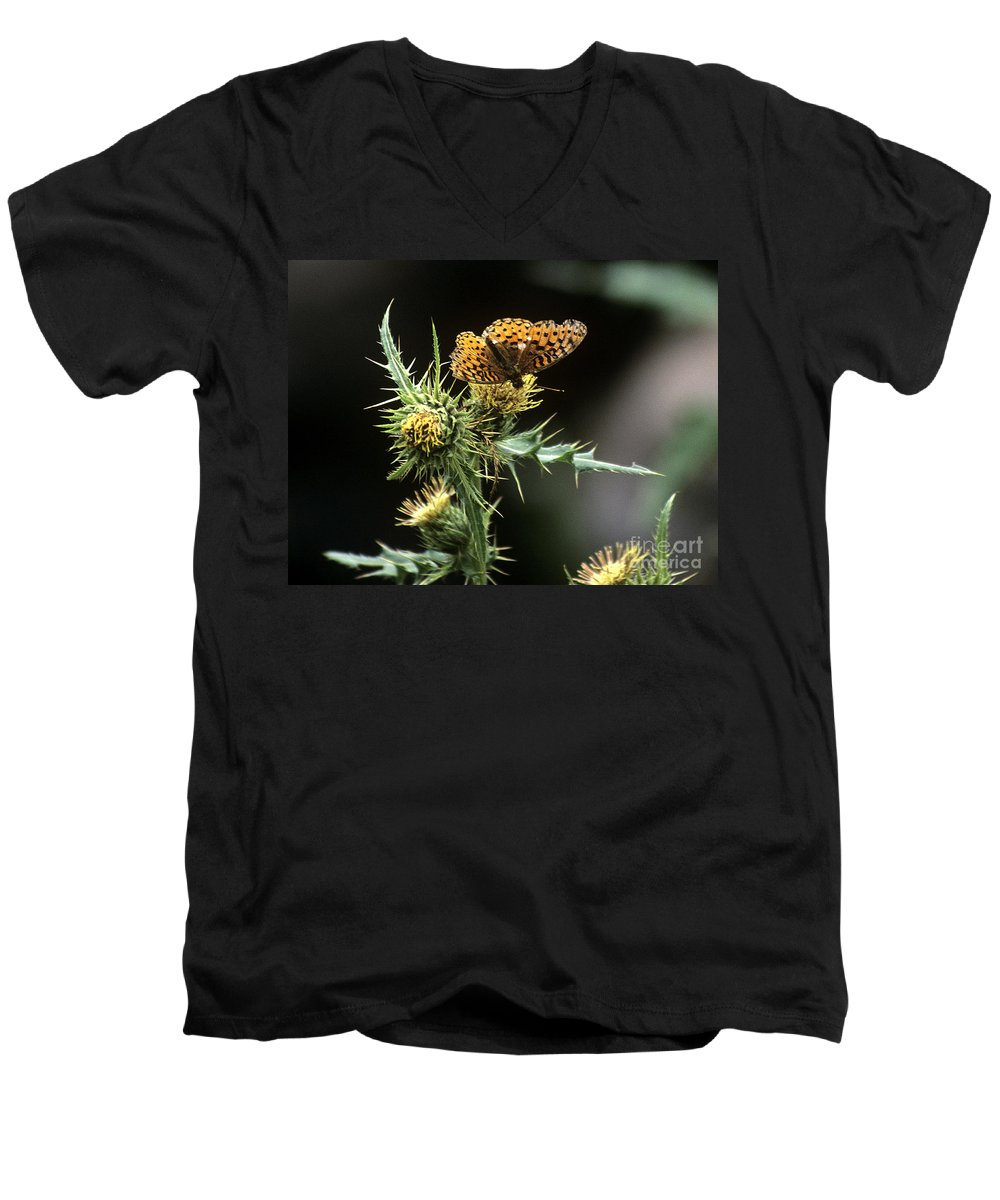 Butterfly Men's V-Neck T-Shirt featuring the photograph Monarch On Thistle by Kathy McClure