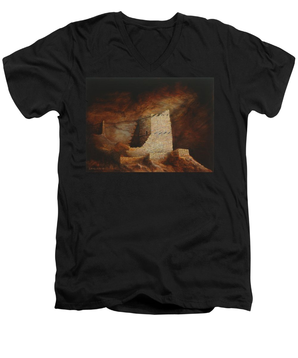 Anasazi Men's V-Neck T-Shirt featuring the painting Mummy Cave by Jerry McElroy