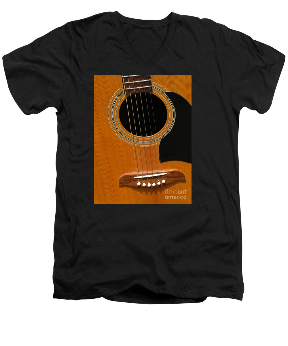 Guitar Men's V-Neck T-Shirt featuring the photograph Musical Abstraction by Ann Horn