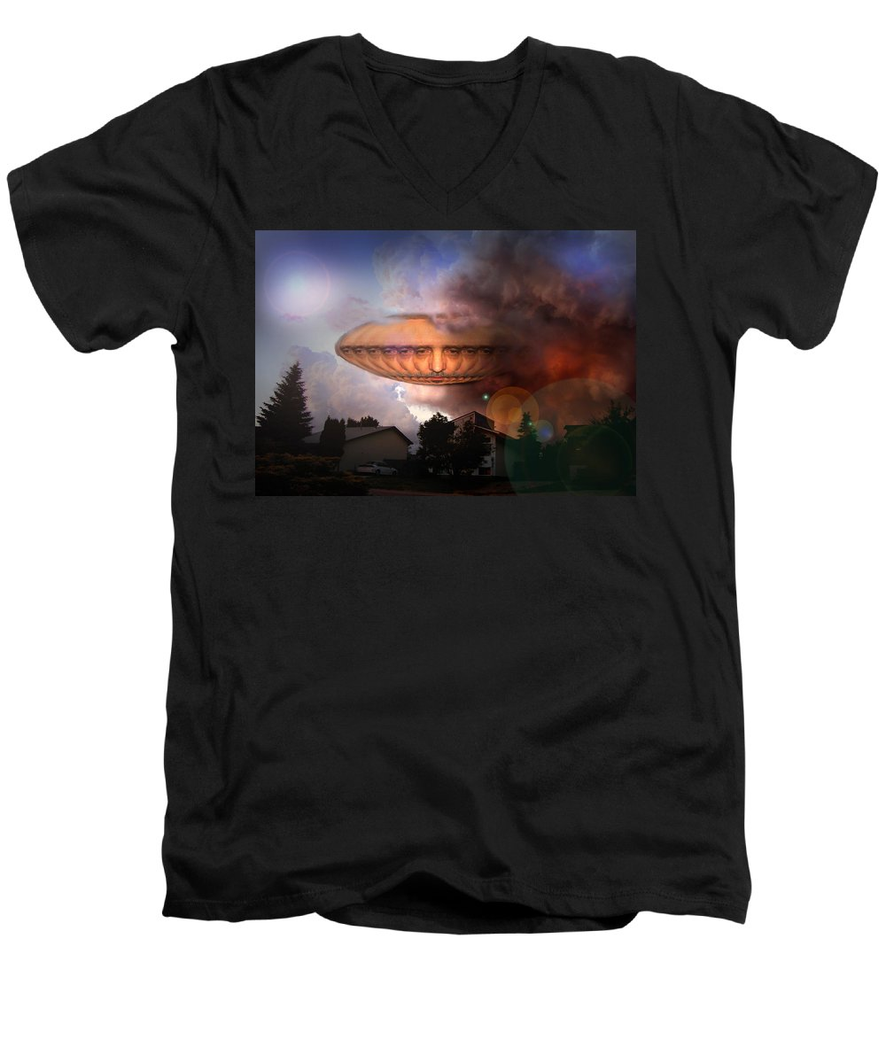 Surrealism Men's V-Neck T-Shirt featuring the digital art Mystic Ufo by Otto Rapp