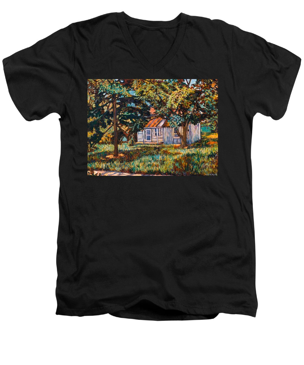Architecture Men's V-Neck T-Shirt featuring the painting Near The Tech Duck Pond by Kendall Kessler