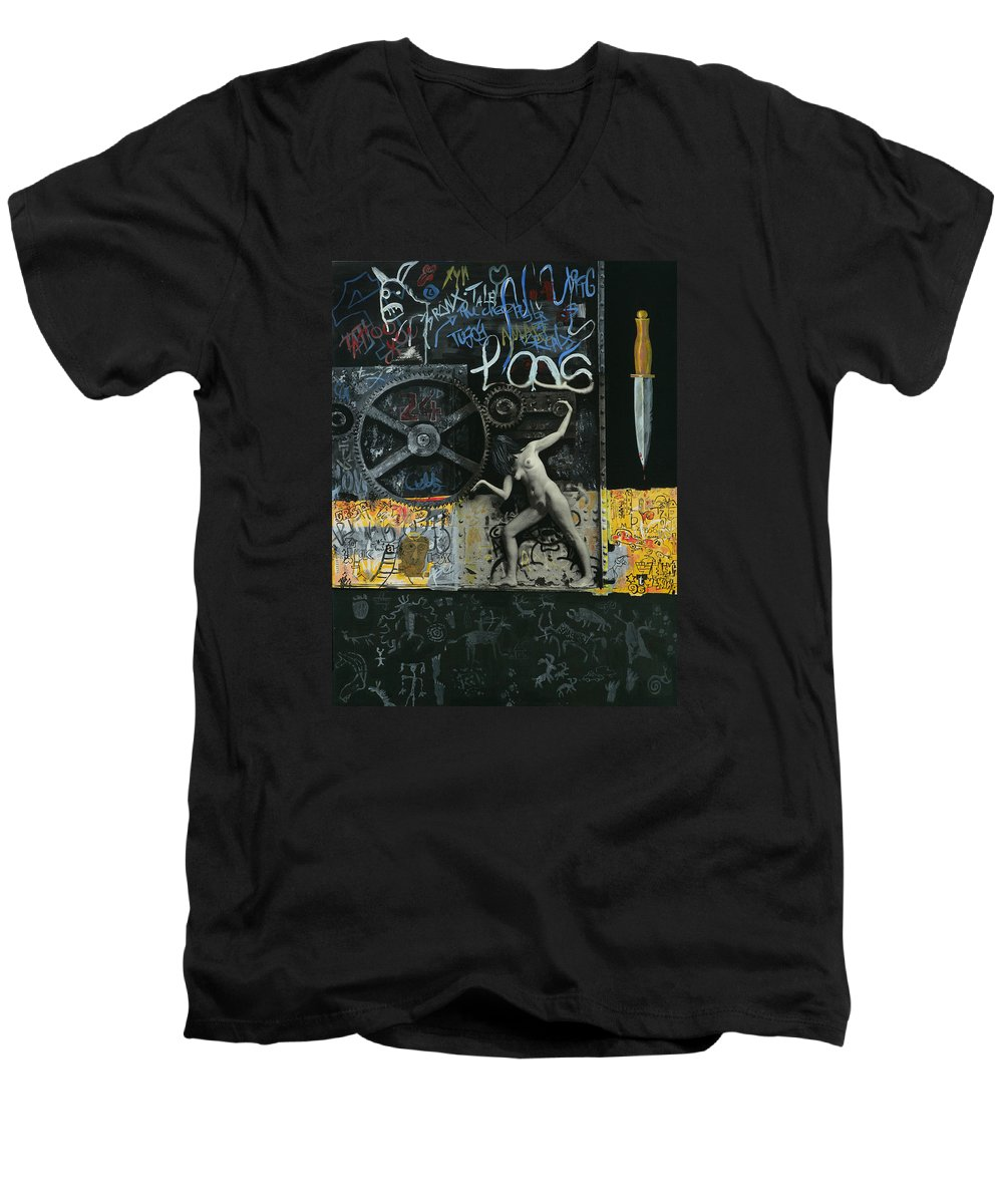City Men's V-Neck T-Shirt featuring the painting New York City by Yelena Tylkina