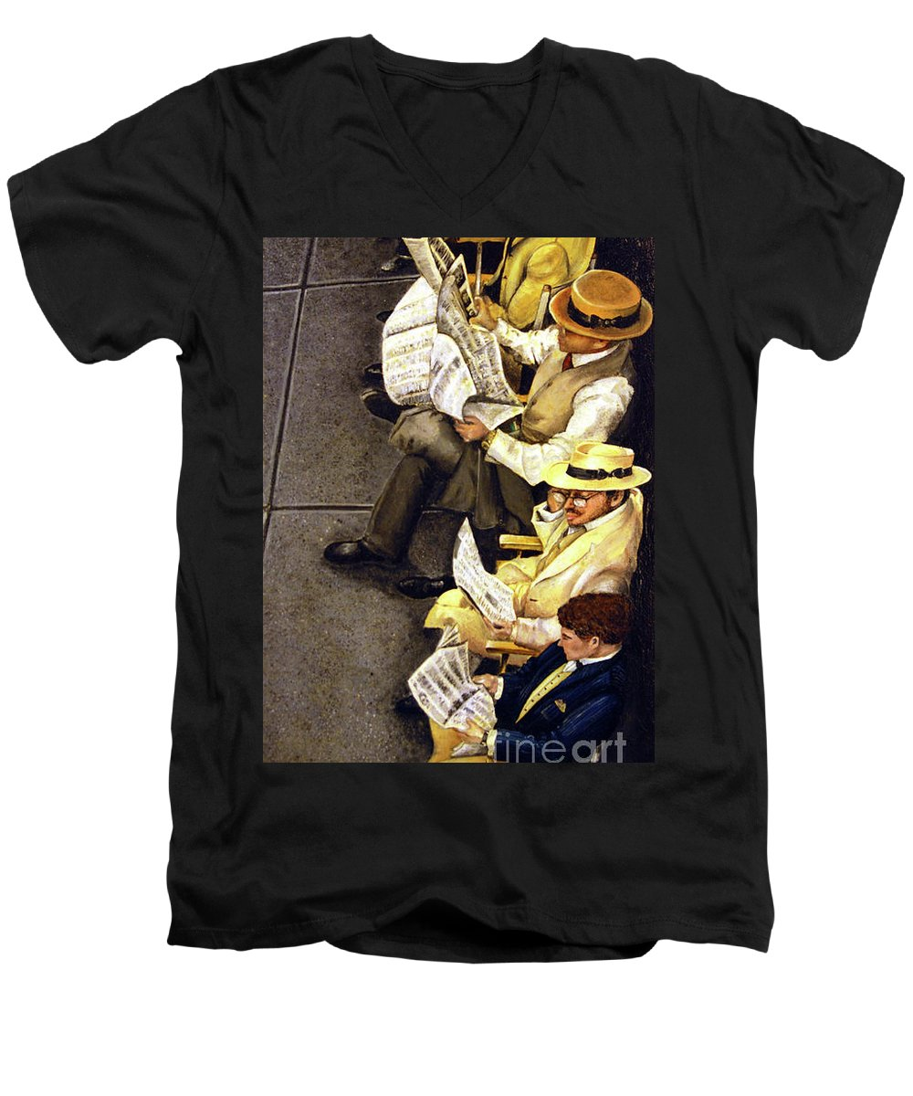Newspaper Men's V-Neck T-Shirt featuring the painting New York Times by Linda Simon