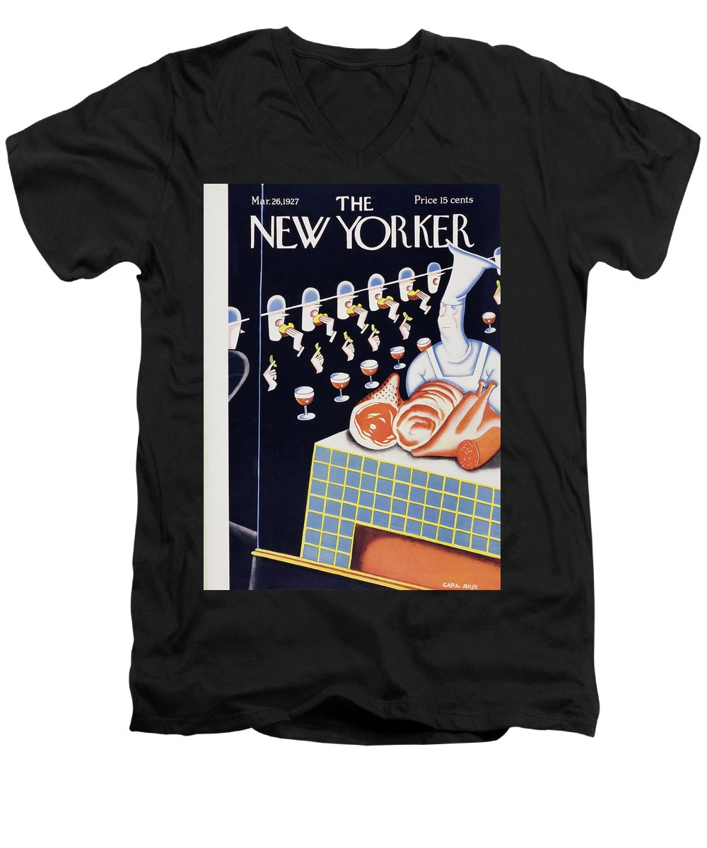 Illustration Men's V-Neck T-Shirt featuring the painting New Yorker March 26 1927 by Carl Rose