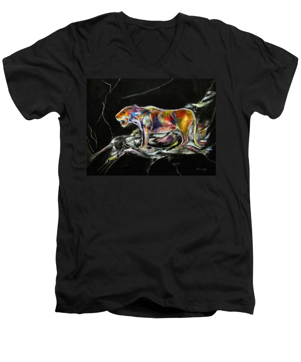 Animals Men's V-Neck T-Shirt featuring the painting No Fear by Tom Conway