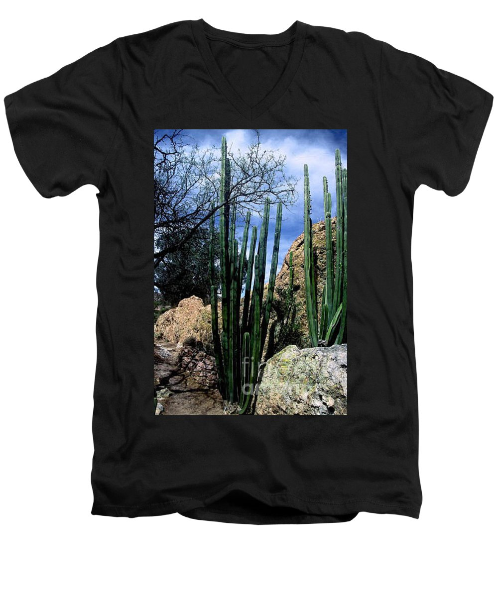 Cactus Men's V-Neck T-Shirt featuring the photograph Organ Pipe by Kathy McClure