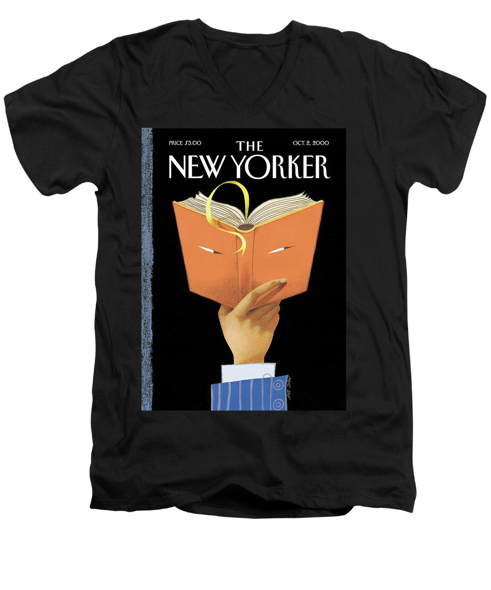 Page-turner Artkey 51182 Aju Ana Juan Word Play Books Men's V-Neck T-Shirt featuring the painting Page-turner by Ana Juan
