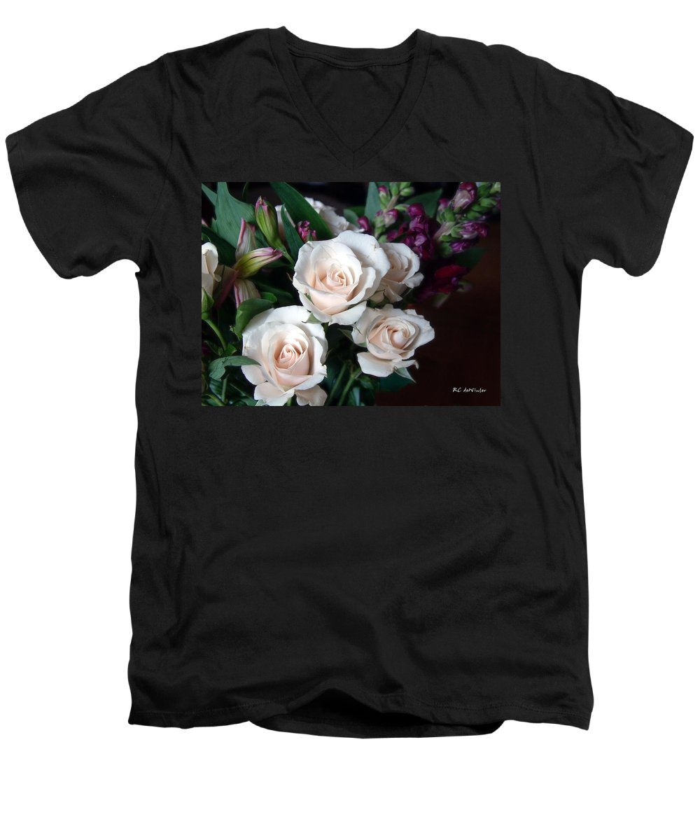 Flowers Men's V-Neck T-Shirt featuring the photograph Pardon My Blush by RC deWinter