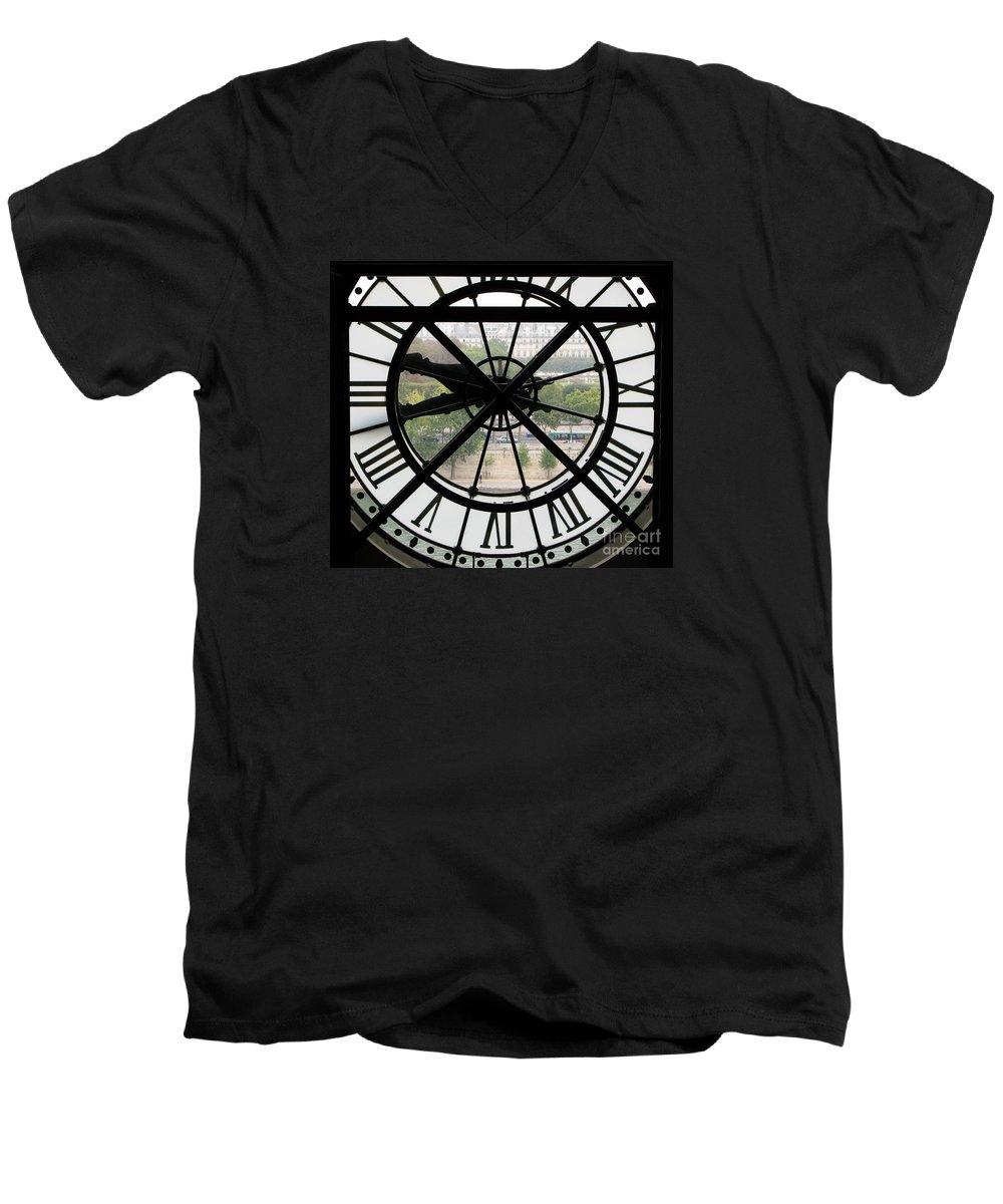 Clock Men's V-Neck T-Shirt featuring the photograph Paris Time by Ann Horn