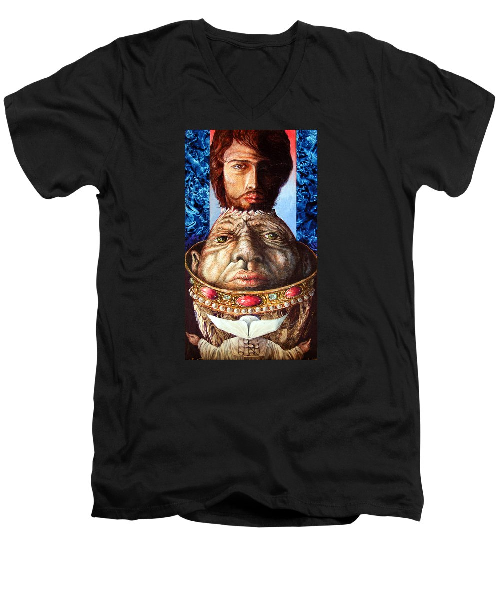 Surrealism Men's V-Neck T-Shirt featuring the painting Parthenogenesis II by Otto Rapp