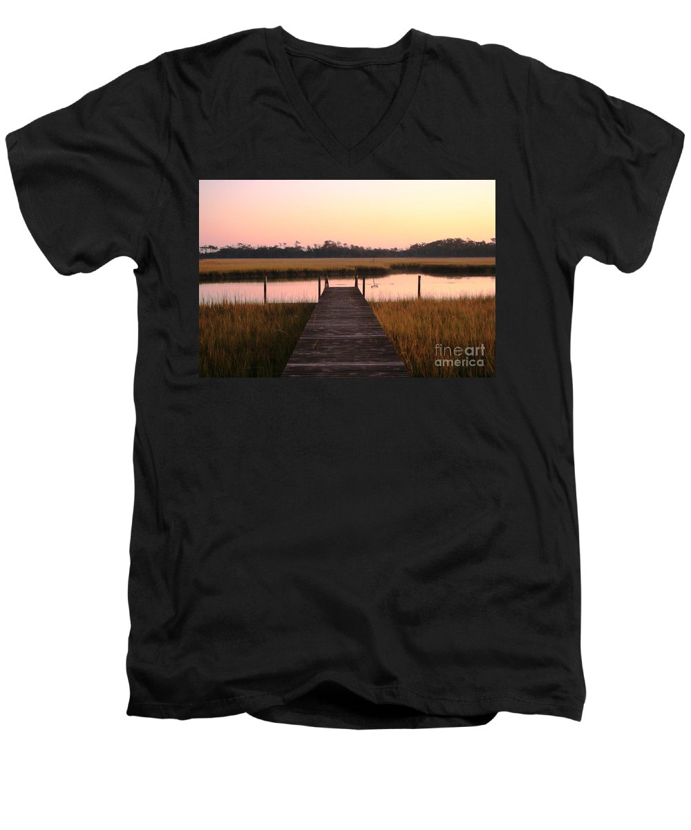 Pink Men's V-Neck T-Shirt featuring the photograph Pink And Orange Morning On The Marsh by Nadine Rippelmeyer