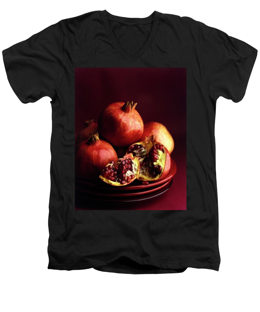 Fruits Men's V-Neck T-Shirt featuring the photograph Pomegranates by Romulo Yanes