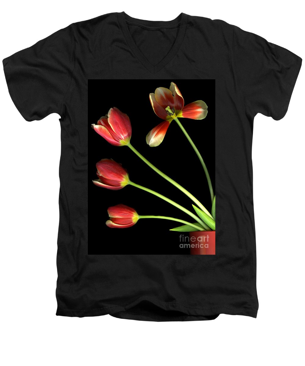 Scanography Men's V-Neck T-Shirt featuring the photograph Pot Of Tulips by Christian Slanec