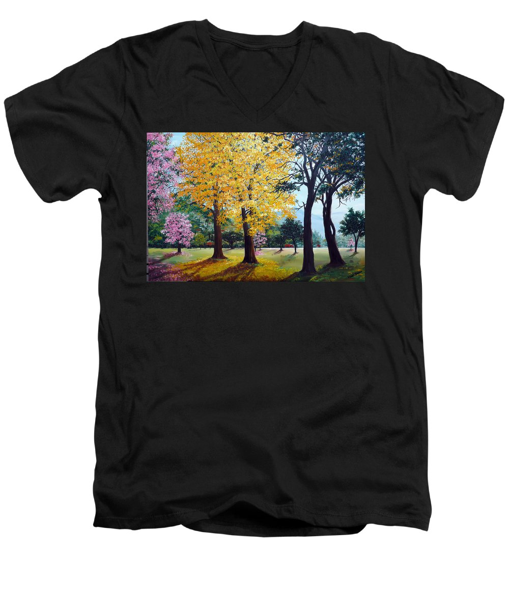 Tree Painting Landscape Painting Caribbean Painting Poui Tree Yellow Blossoms Trinidad Queens Park Savannah Port Of Spain Trinidad And Tobago Painting Savannah Tropical Painting Men's V-Neck T-Shirt featuring the painting Poui Trees In The Savannah by Karin Dawn Kelshall- Best