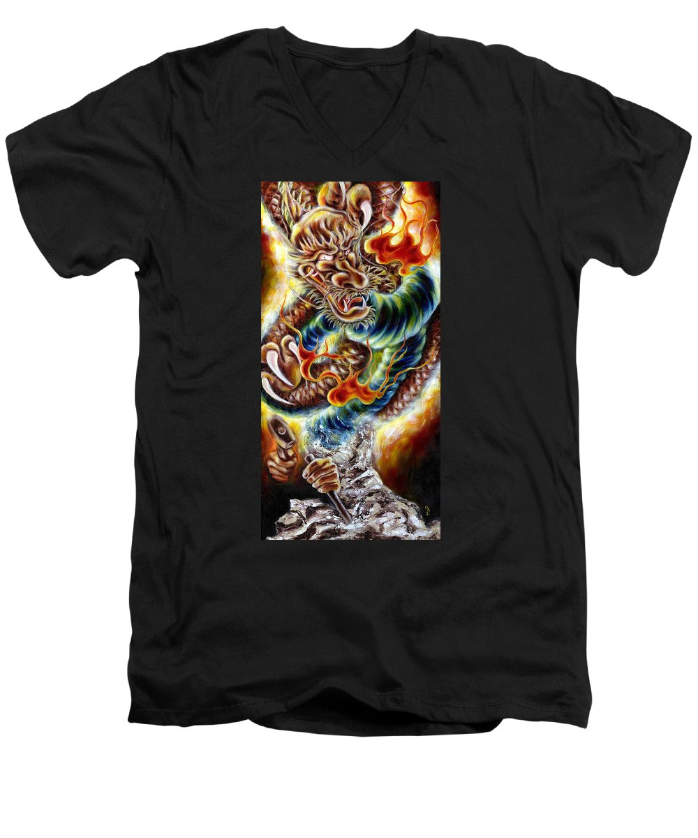 Caving Men's V-Neck T-Shirt featuring the painting Power Of Spirit by Hiroko Sakai