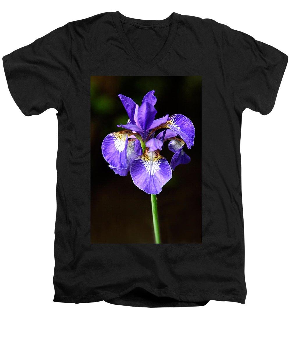 3scape Men's V-Neck T-Shirt featuring the photograph Purple Iris by Adam Romanowicz