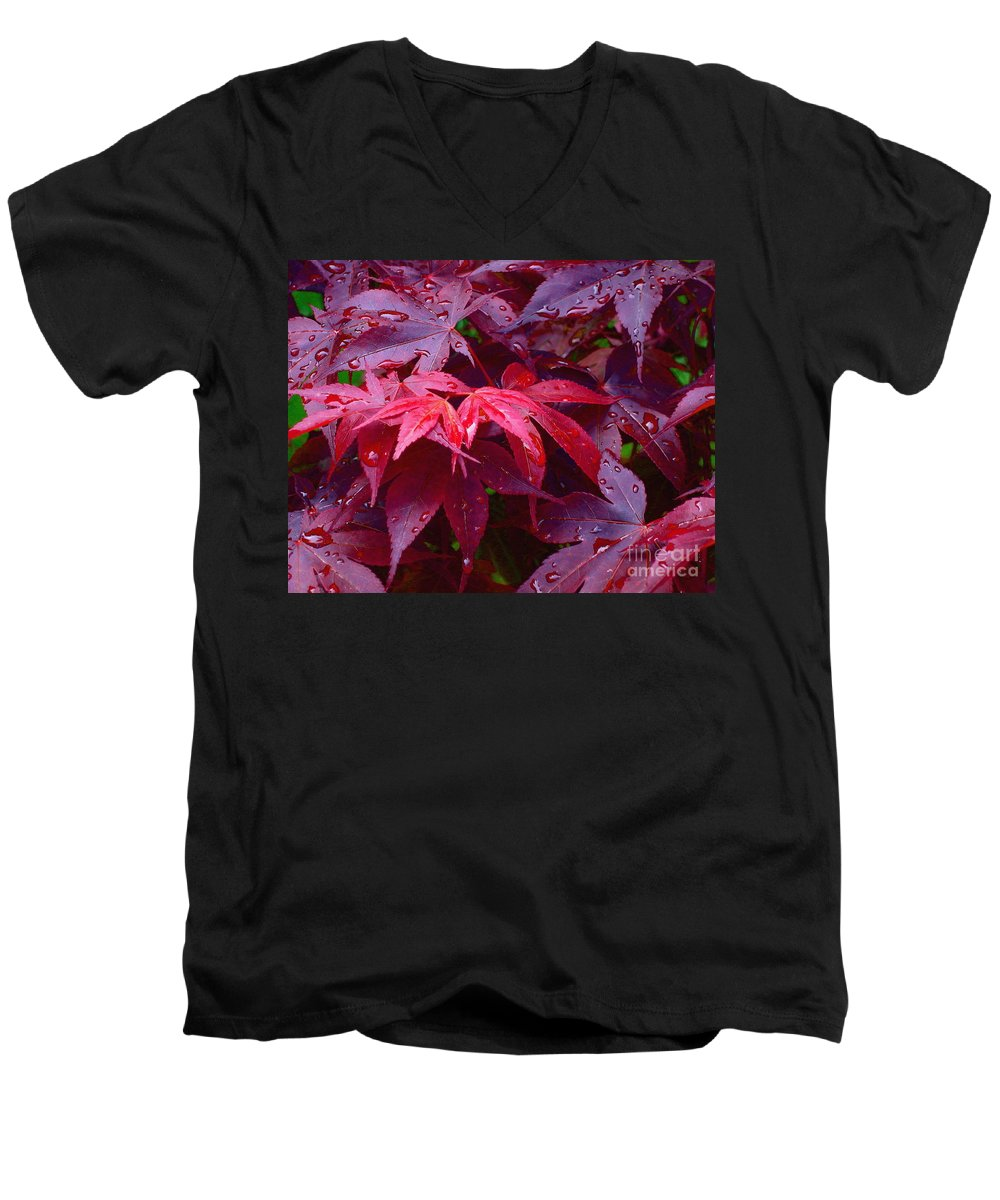 Rain Men's V-Neck T-Shirt featuring the photograph Red Maple After Rain by Ann Horn