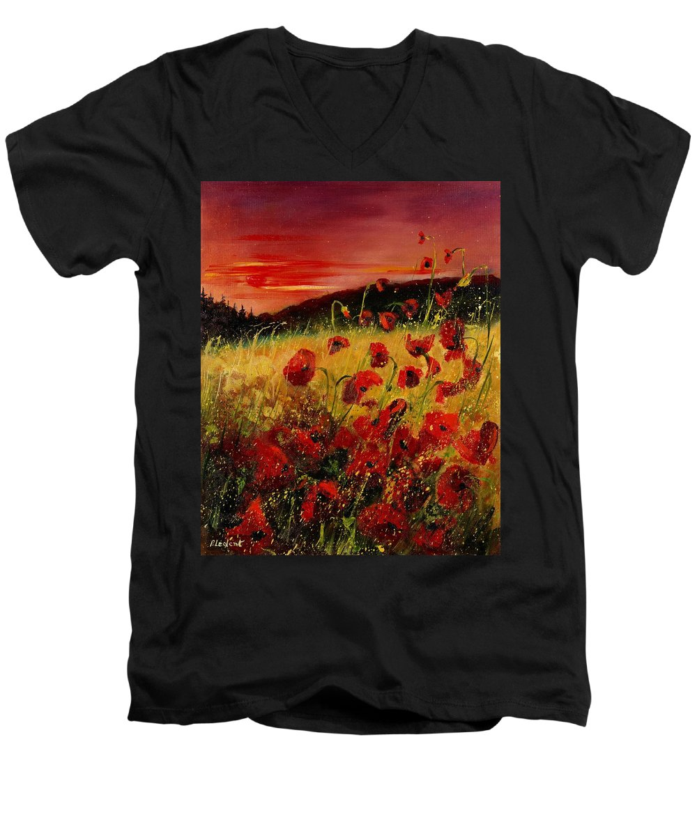 Poppies Men's V-Neck T-Shirt featuring the painting Red Poppies And Sunset by Pol Ledent