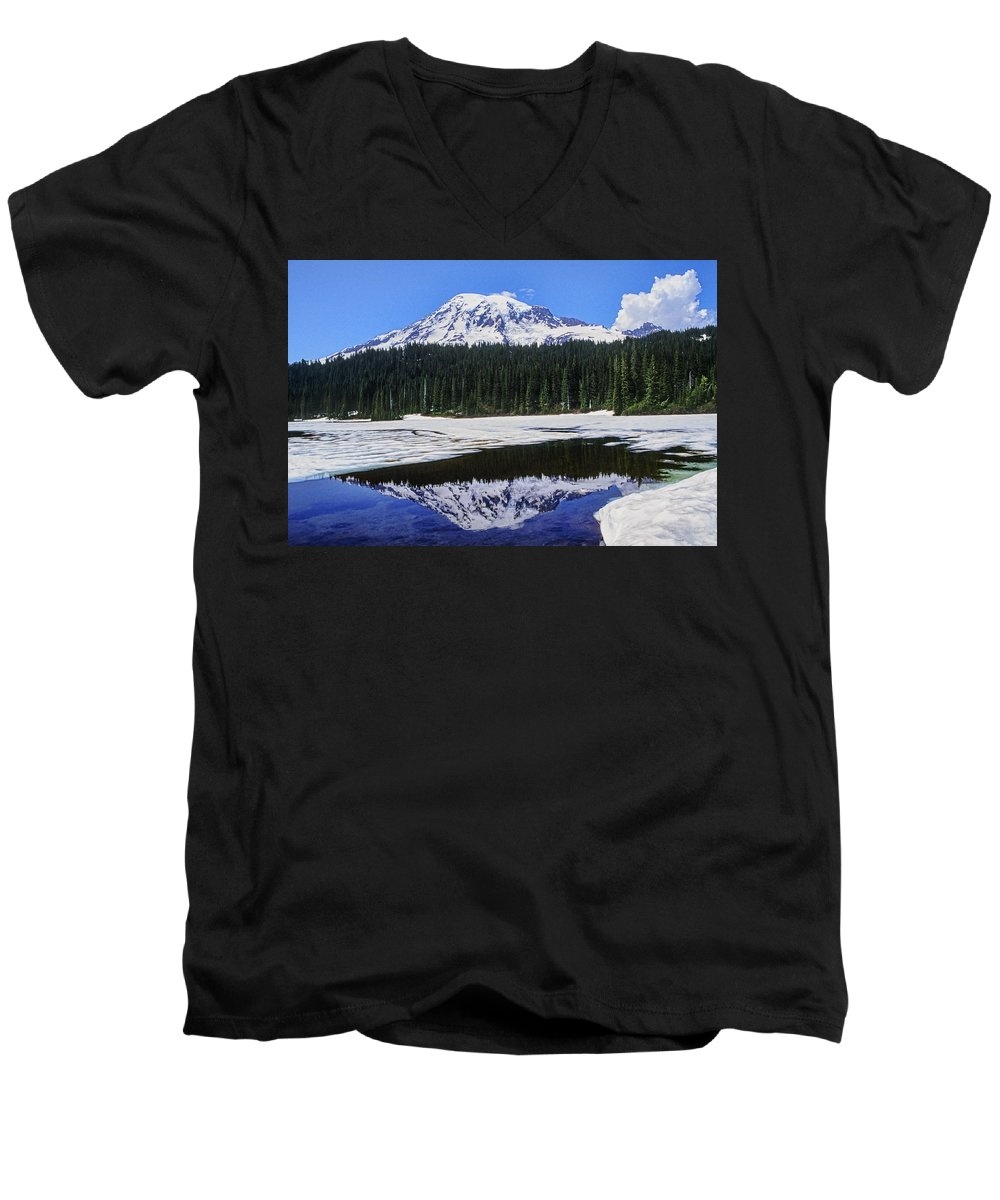Mount Rainier Men's V-Neck T-Shirt featuring the photograph Reflection by Kelley King