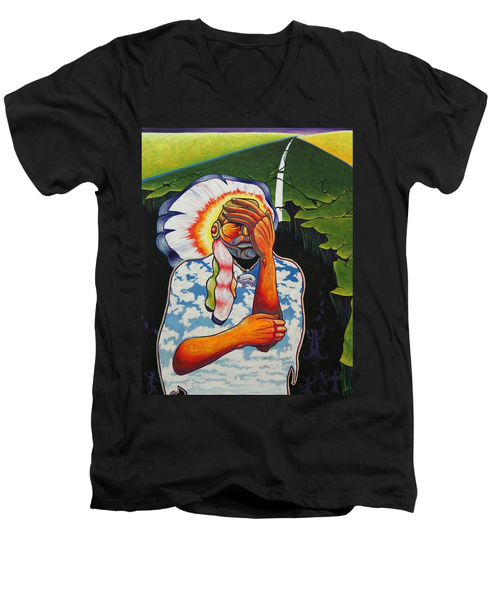 American Indian Men's V-Neck T-Shirt featuring the painting Release Me by Joe Triano