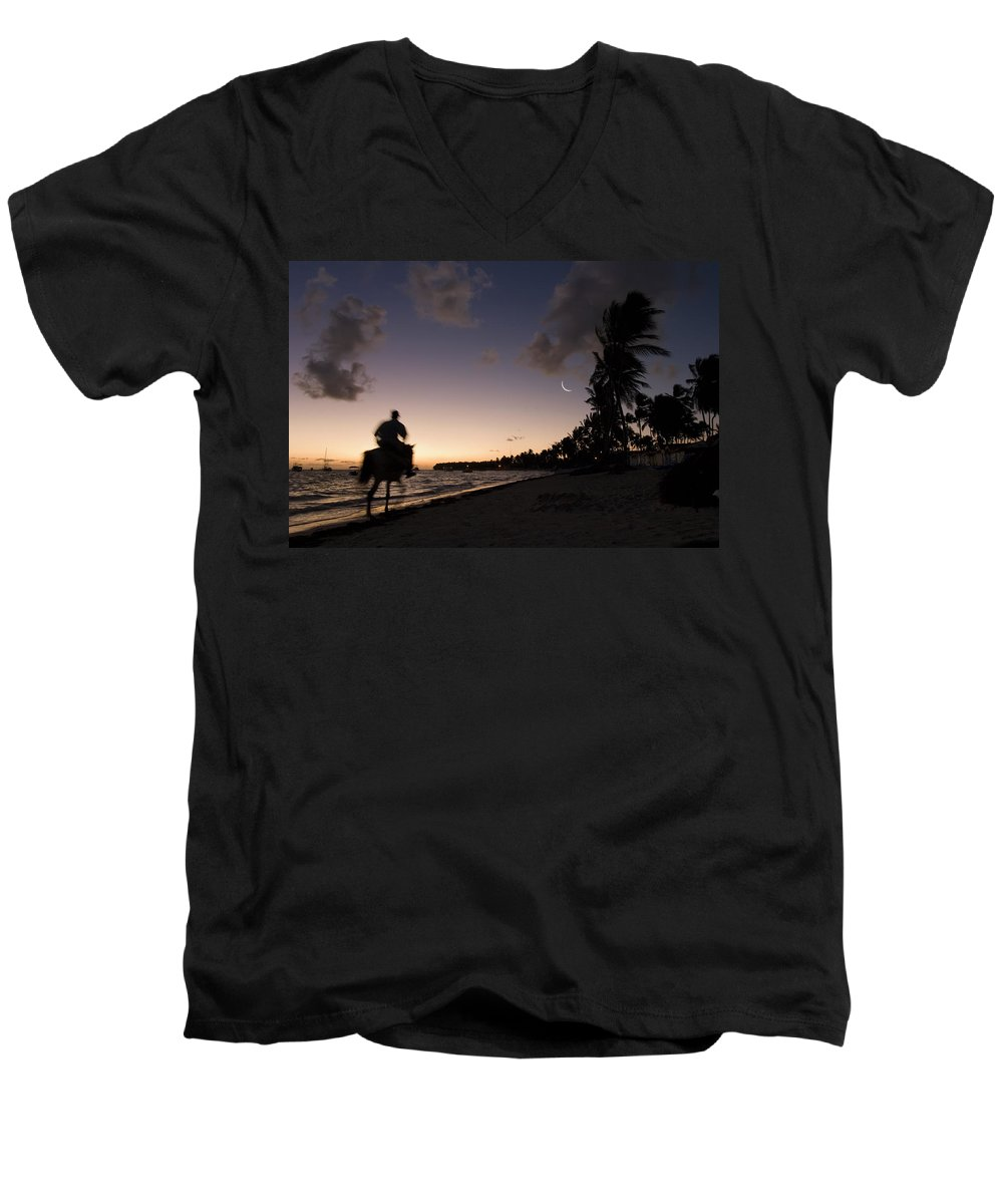 3scape Men's V-Neck T-Shirt featuring the photograph Riding On The Beach by Adam Romanowicz