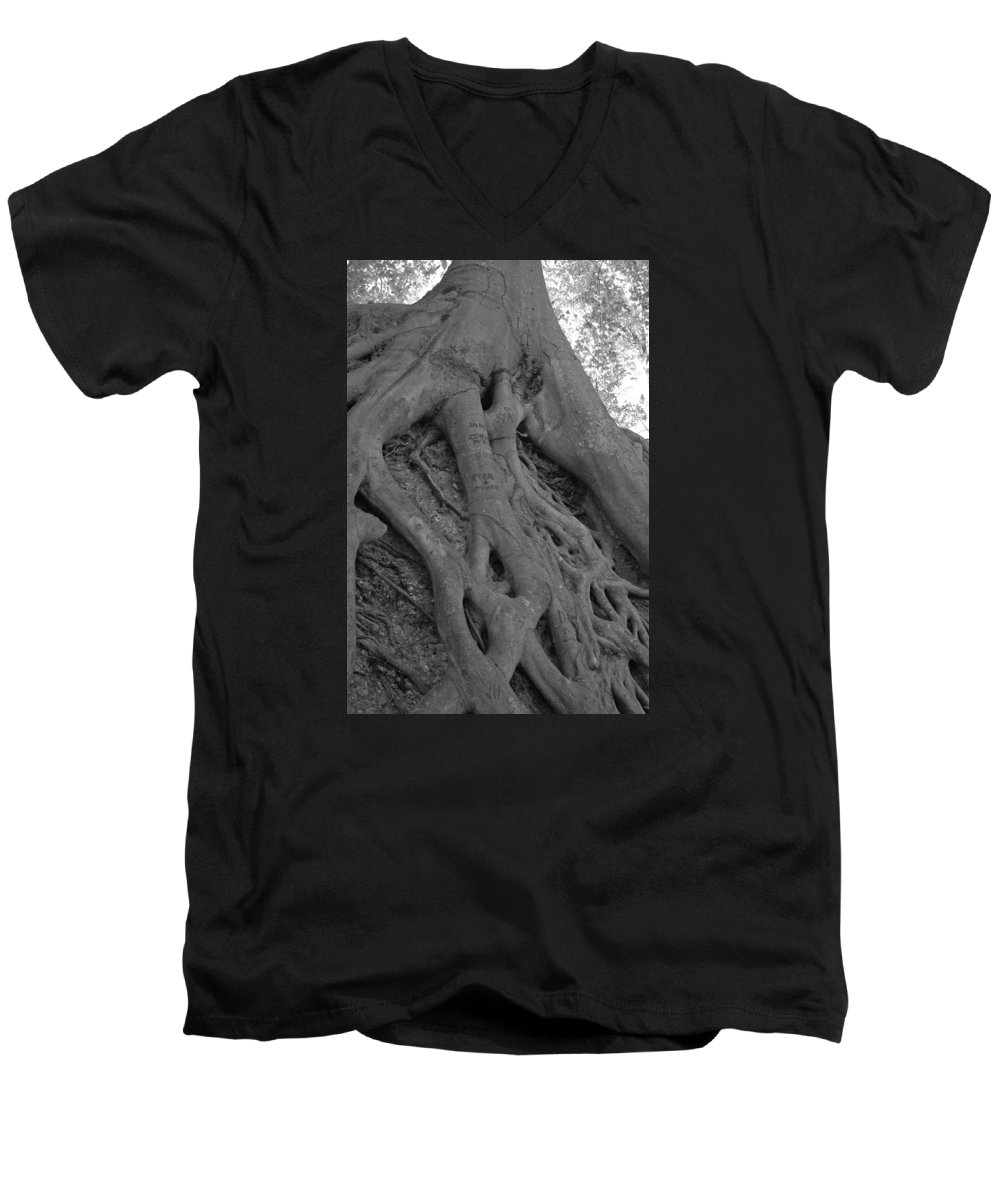 Tree Men's V-Neck T-Shirt featuring the photograph Roots II by Suzanne Gaff