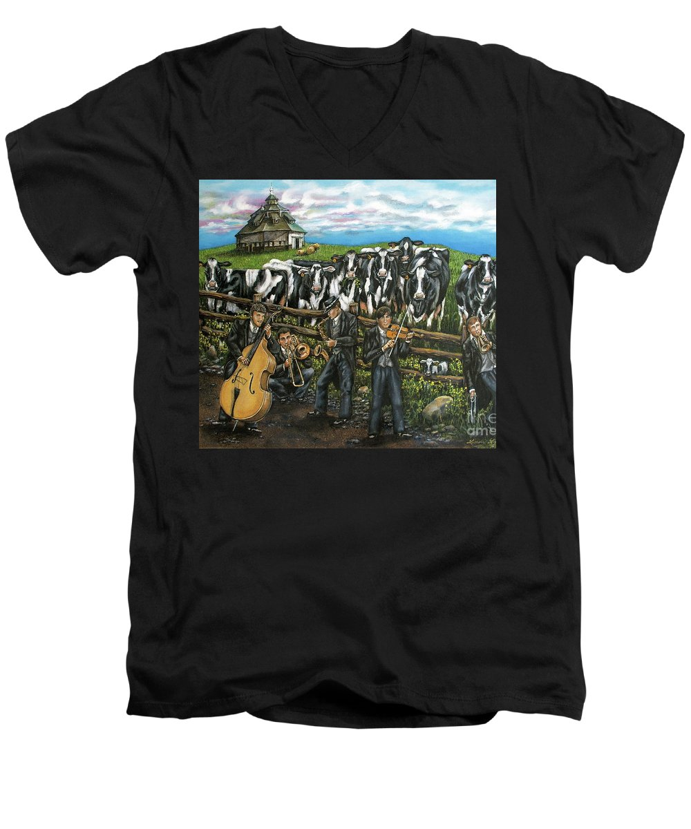 Linda Simon Men's V-Neck T-Shirt featuring the painting Semi-formal by Linda Simon