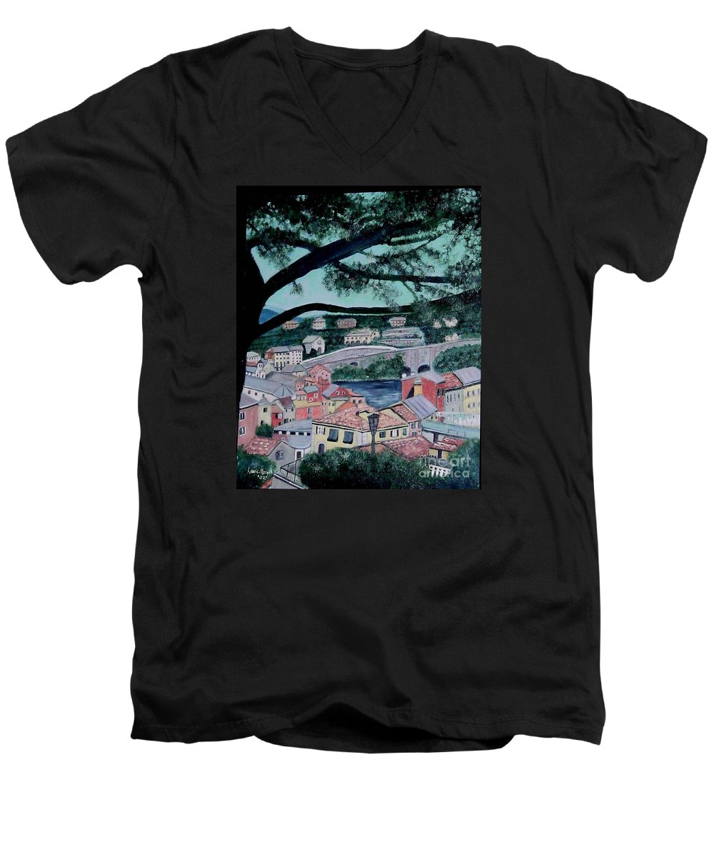 Italy Men's V-Neck T-Shirt featuring the painting Sestri Levante by Laurie Morgan