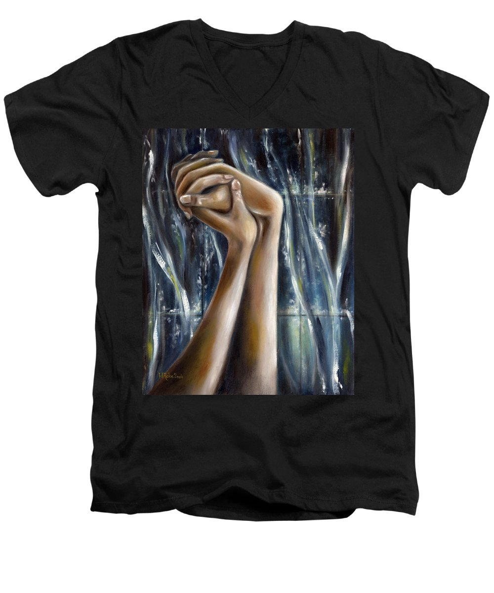 Blue Men's V-Neck T-Shirt featuring the painting Snow Light by Hiroko Sakai